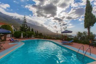 gallery garbis villas pool evening